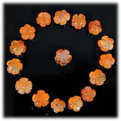 44.50Cts Wholesale Lot 100% Natural Rare Carnelian Flower Carved Loose Gemstones