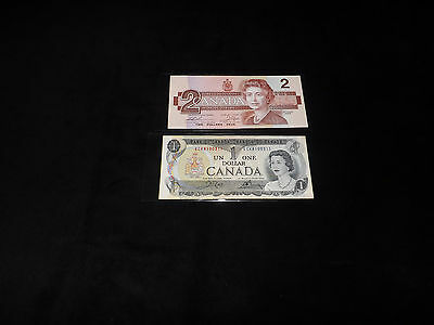Bank Of Canada Lot-- 1986 $2.00 & 1973 $1.00 Notes= ==