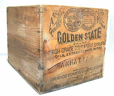 Vintage 1930's GOLDEN STATE Friut Syrup Wooden Box California ORANCO Antique OLD
