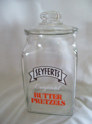 Vintage Seyfert's Butter Pretzels Advertising Counter-Top Display Jar + Lid #2