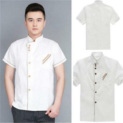 Simple Restaurant Chef Coat Short Sleeve Uniform Breathable Cook Clothes Jacket