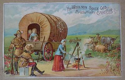 Victorian Trade Card Woolson Spice Co's. Midsummer Greeting, Lion Coffee