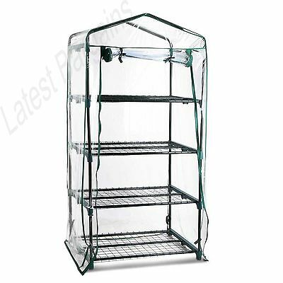 Mini Greenhouse Hot House Garden Plant Shed Clear PVC Cover 4 Tier