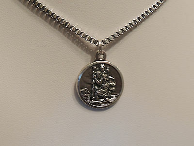 St Christopher Medallion Necklace-Stainless Steel Box Chain 60Cm-Safe Travel