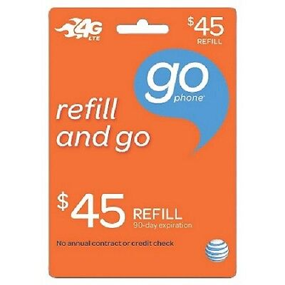 $45 AT&T Go phone $45 FASTEST REFILL card Credit applied DIRECTLY to PHONE
