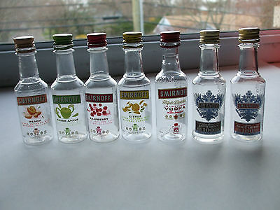 7 EMPTY Smirnoff Multiple Vodka Flavors 50ml Plastic Miniature Liquor Bottles C
