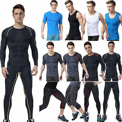 Mens Compression Base Layer Under Skin Sports Fitness T-shirt Top Pants Leggings
