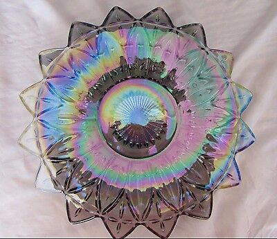 Vintage Carnival Crystal Iridescent Rainbow Glass Floral Plate 11.5""
