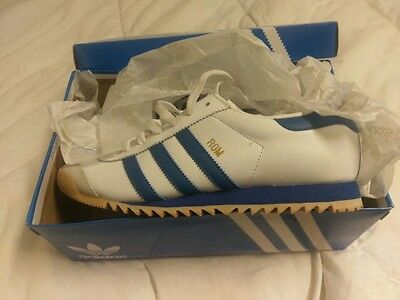 Adidas Original Mens Rom White/blue Size 81/2 Trainers Shoes Sneakers New