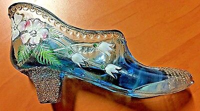 Fenton Art Glass small Shoe Hand Painted by JA.GREEN Signed BY Nancy Fenton 2000