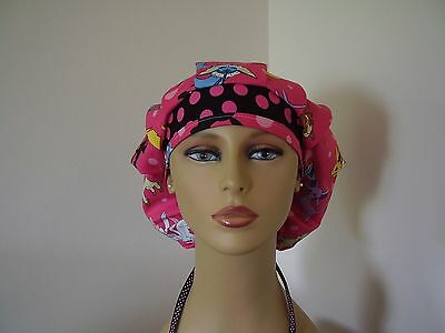 Bouffant Surgical Scrub Hat/Ponytail Combo- POKE'MON - Pink/dots - One size