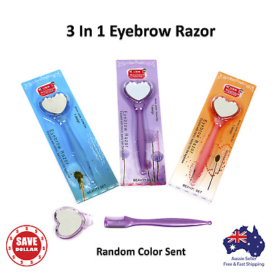 3 In 1 Facial Eyebrow Razor Trimmer Shaver Blade Knife Hair Remover Mirror Comb