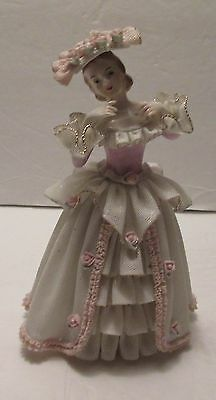 Dresden Lace Lady Figurine, White Gown With Pink Accents, Rose Trim Hat, As Is