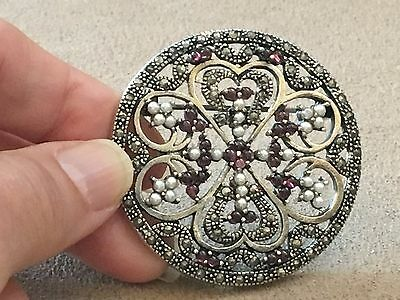 Antique Brooch with garnets, Pearls and Marcasites set in Sterling Silver