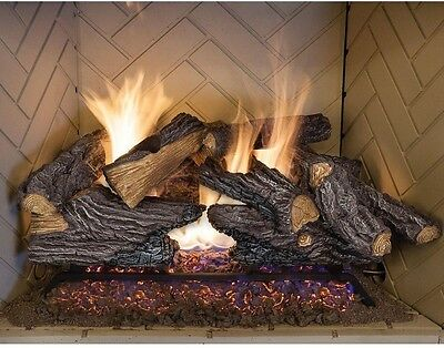 Emberglow Split Oak Vented Natural Gas Log Set Wood Burning Fire Environmentally