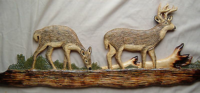 WHITETAIL DEER Hunting Wood Carving Chainsaw Log Cabin Decor Wall Art Wood
