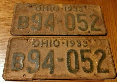 1933 ohio license plate set pair vintage tags