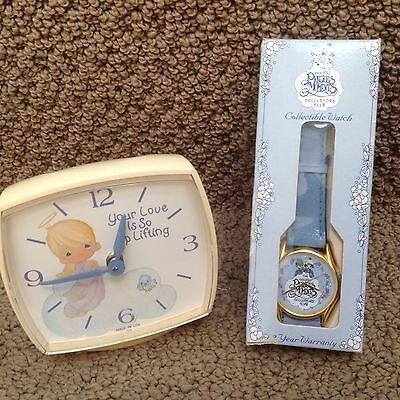 Precious Moments Vintage Wind Up Clock and Collector Watch MIB