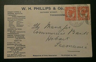 QLD 1905 ADVERTISING COVER 1d PAIR TOOWOOMBA