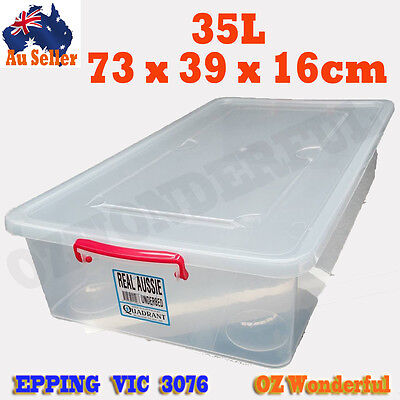 35L Long Underbed Storer Clear Plastic Storage Container Organizer Box Bins NEW