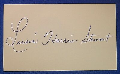 LUSIA HARRIS-STEWART HOF signed autograph 3x5 index 1st woman drafted NBA (Jazz)