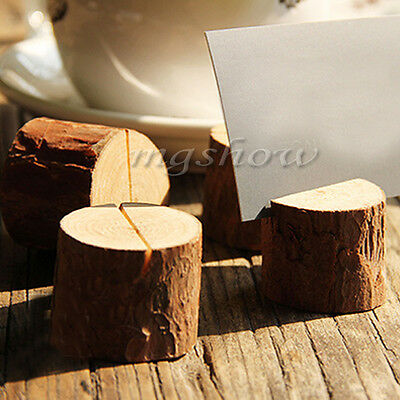 10 Pieces New Wooden Wedding Table Number Stand Place Name Memo Card Holder