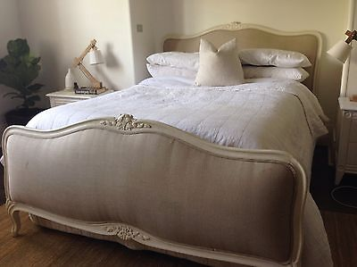 French Antique Louis Queen SIze Bed With Carved Flower Detail