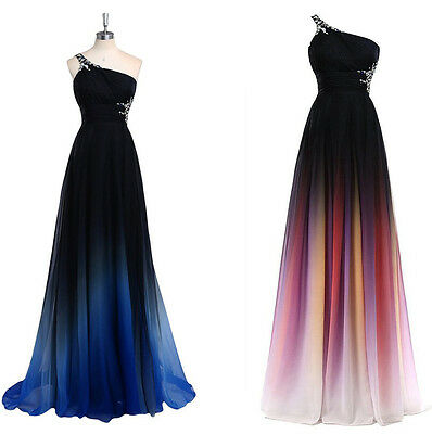 Ombre One Shoulder Chiffon Formal Prom Cocktail Party Evening Bridesmaid Dresses