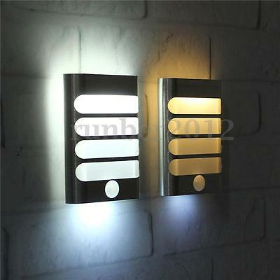 Wireless Battery Power LED Motion Sensor Activated Night Light Wall Sconce Lamp