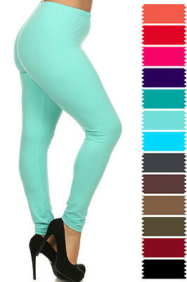 New COLOR B Plus Size One Size Solid Plain Full Long Leggings Stretch XL-3XL 128