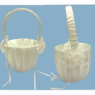 New Flower Girl Basket w Flowers Wedding Flowergirl Basket White/Ivory