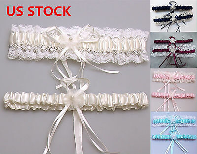 US STOCK Wedding Bridal Garter Set White Lace Floral Elastic Keepsake Garter