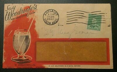 1942 Adelaide Advertising Cover Woodroofe's Cordials Kgv1