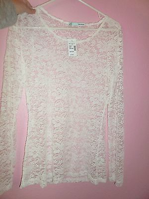 Maurices White Sheer Stretch Lace Long Sleeve T-Shirt Tee Women's Size Medium