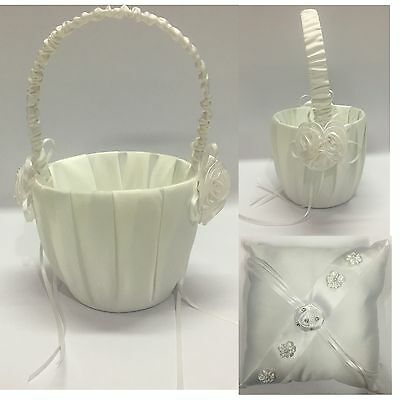 New Wedding Flower Girl Basket Pillow Set FlowerGirl Basket Ring Pillow Set