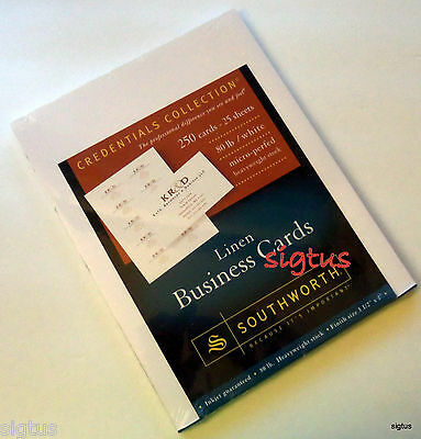 Southworth Linen Business Cards - 250 cards Inkjet 80 lb stock heavyweight-MIP