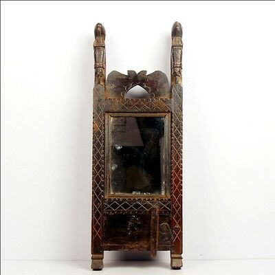 1850's Old Vintage Antique Wooden Handcarved Wood Mirror Frame With Cupboard6620