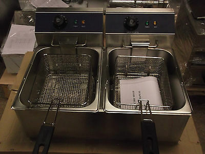 Commercial Catering Brand New Tabletop Double Fryer 2 X 6Ltr Tank K2312