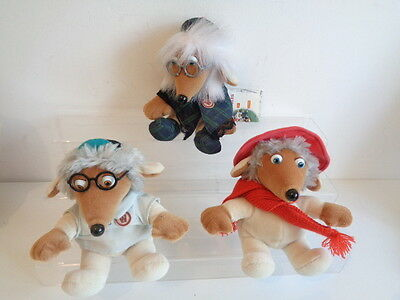 "3 x WOMBLES 6"" BEANIES SOFT TOYS - UNCLE BULGARIA + ORINOCO + WELLINGTON"