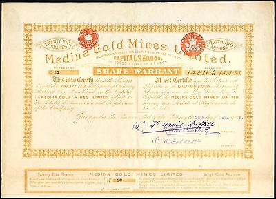 Colombia: Medina Gold Mines Ltd., 25 shares of £1, 1905, Honda, Tolima