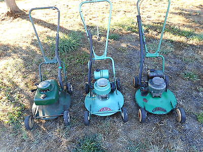 Victa Collection Of 3 Early Mowers,good Antique Victa Mowers To Own