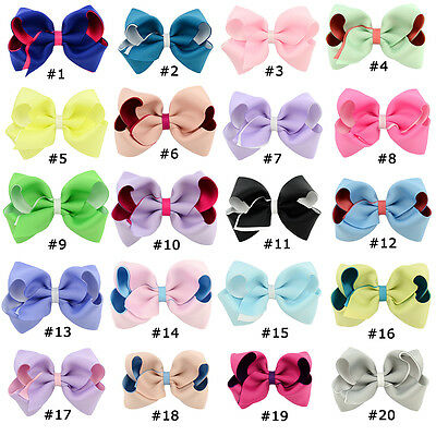 4 Inch Bow Newborn Baby Girls Double Color  Hair Clips Boutique Grosgrain Ribbon