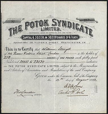 Oil in Galicia: Potok Syndicate Ltd., £1 shares, 1892