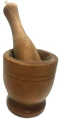 New Wooden Mortar&Pestle Set Classic Asian Style Herbs Spices Garlic Chili