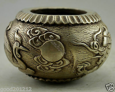 Collectible Decorated Old Handwork Silver Plate Copper Carved Dragon Phoenix Pot