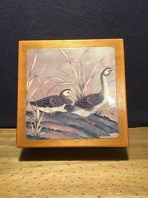 Vintage Duck Coasters Set Of 6 In Wooden Box