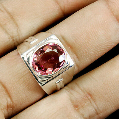 Good-Looking ! Top Real Pupper Pink  Morganite Real 925 Sterling Silver Ring