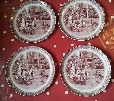 "SPODE christmas st nick rocking horse 4 8""side plates"