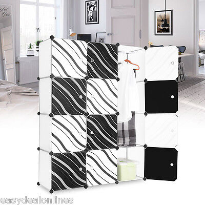 12 Cube Closet System Wardrobe Storage Rack Organizer Clothes Shoes Shelving