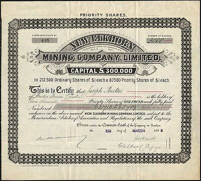 New Elkhorn Mining Co. Ltd., £1 priority shasres, 1896. Mines in Montana.